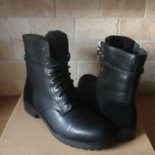 UGG Kilmer Exposed Fur Black Water-resistant Leather Combat Boots Size 6 Womens