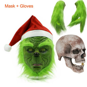 Full Head Latex Mask The Grinch Wig And Xmas Hat Monster Costume Holloween Play