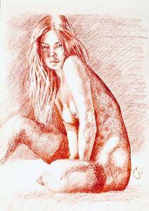Original A4 AKTzeichnung Rötel :: Red Chalk nude :: Nu Crayons Rouge ::