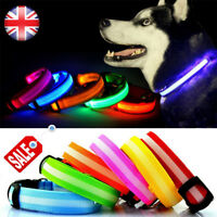 LED Dog Pet Collar Flashing Luminous Adjustable Safety Light Up Tag Nylon UK