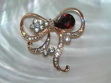 Teardrop & Clear Rhinestone Flower Accent Estate Rose Colored Metal Bow with Red