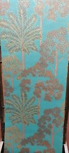City of Palms Teal Textured Wallpaper