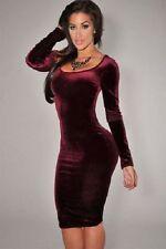 Unbranded Knee Length Long Sleeve Velvet Dresses for Women
