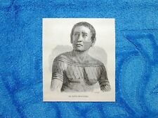 Gravure Année 1861 - Indien Mondurueu+Indien Arara (Brésil-Brasile)