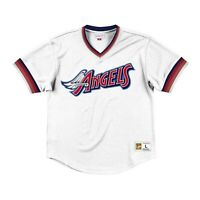 Mitchell & Ness White MLB California Angels Mesh V-Neck Jersey