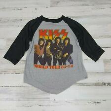 ORIGINAL VINTAGE !! Kiss WORLD TOUR 1983 - 1984 Concert RAGLANT Shirt RARE !! L