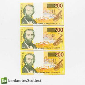 BELGIUM: 3 x 200 Belgian Franc Banknotes with Consecutive Serial Numbers.