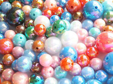 Plastic Acrylic Beads - Mixed Colours/Sizes - 4mm -18mm/1-2mm hole - Pack of 100
