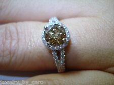 1.25 Carat Champagne Brown Diamonds Engagement Ring 14K White Gold Handmade