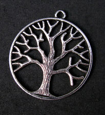 Silver TREE OF LIFE Antique Pendant GODDESS Wicca Pagan Charm Vintage Nature NR!