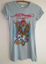 Ed Hardy New York City Blue Eagle Skull Womens Fitted T Shirt M