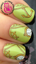 NAIL ART WRAP WATER TRANSFERS STICKERS DECALS NAUTICAL SHIP WHEEL ROPE CLOCK #57