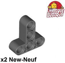 Lego Technic - 2x Liftarm 3x3 T shape thick épais gris f/dark b. gray 60484 NEUF