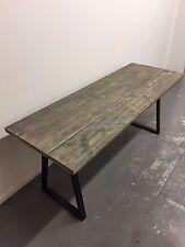 Industrial Reclaimed Timber Scaffold Board Table. On Steel Trapezium Legs