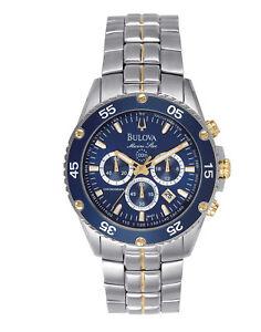 Bulova Marine Star Men's Quartz Date Rotating Bezel Chronograph 42mm Watch 98H37