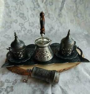 Complete Heavy Copper Turkish Coffee Espresso Cups Coffee Pot, Coffee Grinder