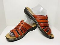 Women's COLLECTION BY CLARKS Red Leather Sandals Slides Strap Sz 11 M