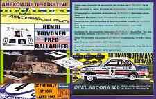ANEXO DECAL 1/43 OPEL ASCONA 400 H.TOIVONEN R. 1000 LAKES 1982 (01)