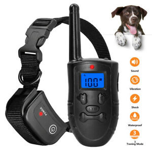 Anti-bark Remote Electric Dog Training Collar Shock Rechargeable Waterproof LCD