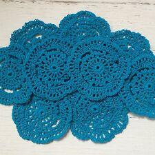 10 X  BULK NEW 10 CM PEACOCK BLUE CROCHET LACE DOILIES