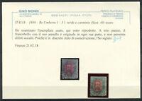 Italien 1889 Sass. 49 Gestempelt 60% Attest 5 l. grün und Carmine