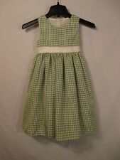 Good Lad Green & Ivory Gingham Lined Sleeveless Dress w/ Sash & Bow - Size 5