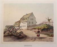 kolorierte Lithografie Reissig Poenicke Schlösser & Rittergüter um 1855 Pirna xz