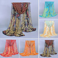 Women Lady 2016 Peacock Chiffon Scarf Soft Shawl Silk Wrap Neck Stole Scarves