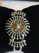 Native American Zuni Bracelet Turquoise Cluster Cuff Needle Point Navajo Wow #2
