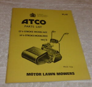 Vintage Atco parts list model A12, & B23 dated 1967/8