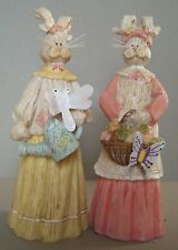 Set of 2 Resin Bunny Figures Wearing Outfits & Made to Look Like Carved Wood