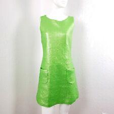 Vintage Jeanette Kastenberg Silk Sequin Mod Dress Lime Green Size 4