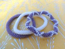 Set of Three Purple ,White Crocheted Beaded Bracelet, Handmade in Nepal, Roll on
