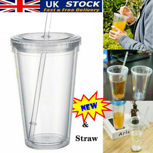 500ml Tumbler Cup With Straws Reusable Double Wall Cold Drink Tea Milk Mug UK!!