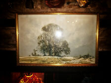 "Rare DAVID SHEPHERD ""Melting Snow"" 1979 FRAMED PRINT Deleted / OOP Winter scene"