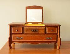 Vintage Wooden Jewelry Music Box w Mirror