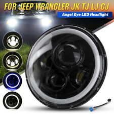 7 Inch Round LED Headlight Blue Halo Ring Angel Eyes For Jeep 97-15 Wrangle