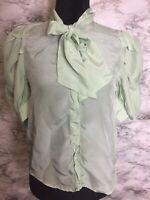 Zara Size Medium Sea Foam Green Bow Tie Blouse With Balloon Sleeves