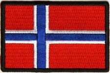 "(A30) NORWAY FLAG 3"" x 2"" iron on patch (5180) Biker"