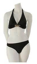 Rebecca Bikini Set Triangel Schale Neckholder Strass Tiger Schwarz 38 B M