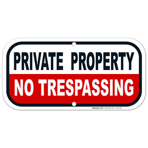 No Trespassing Private Property Sign, Red Background,