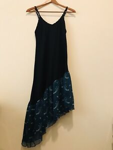 Anna Sui Asymmetric Midi Dress, Size M, Black/Teal Starburst - FREE SHIPPING
