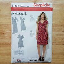 Simplicity E1653 Dress Sewing Pattern Mock Wrap Plus Waist Tie US Size 10 - 18