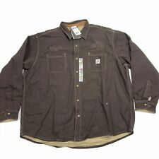 New Other Mens L Carhartt Flame Resistant Canvas Shirt Jacket Brown Welding