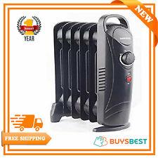 Oil Filled Radiator 6 Fin 800W Mini Portable Electric Heater Thermostat In Black