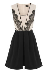 BNWT Oasis Lace Trim Black Cream Structure Evening Occasion Dress Size 16 NEW