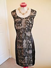 PRIVILEGE AUSTRALIA Black Cocktail DRESS Size 16 Applique Sequins Gold Evening