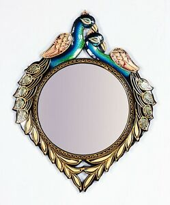 """Ethnic Designer Peacock Wall Unique Wooden 16"""" Frame with 8"""" Mirror Vintage-015"""