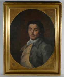 HST,Portrait d'homme dans le goût fin du XVIIIè peinture ancienne fin XIX -1900