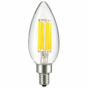 12V Low Voltage Input Clear Torpedo Tip LED Light Bulb 4W Candelabra E12 Screw
